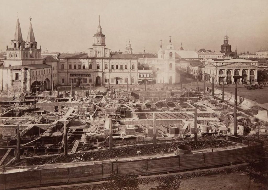 Строительство Исторического музея (вид от Кремля). 1875-1876 гг.