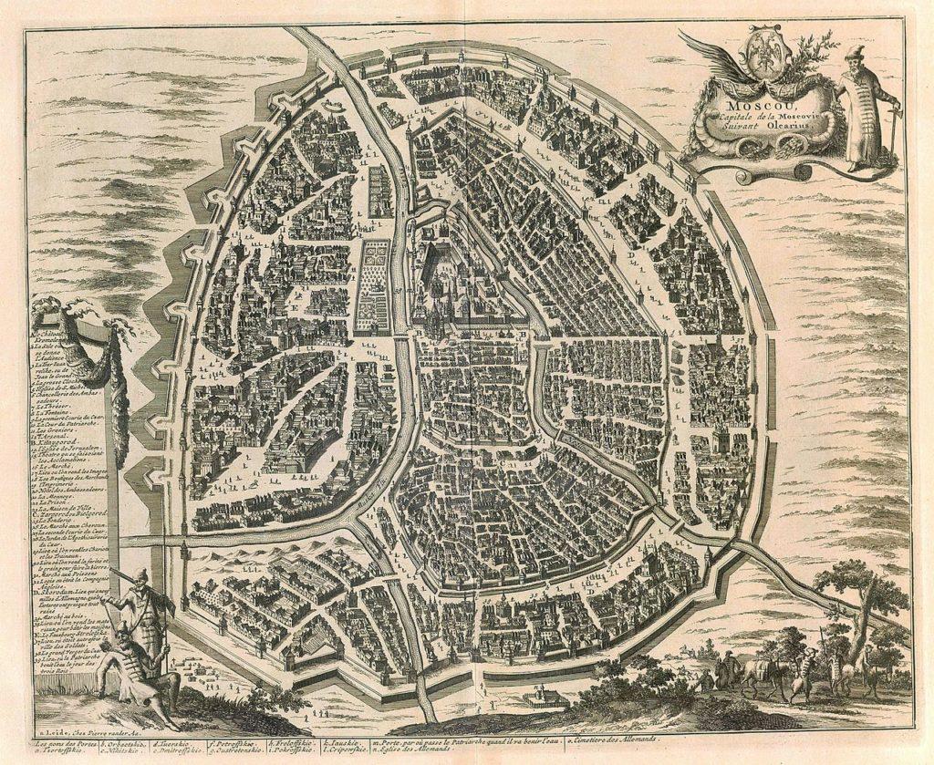 План города Москвы из книги Адама Олеария «Описание путешествия Голштинского посольства в Московию и Персию», 1638 год