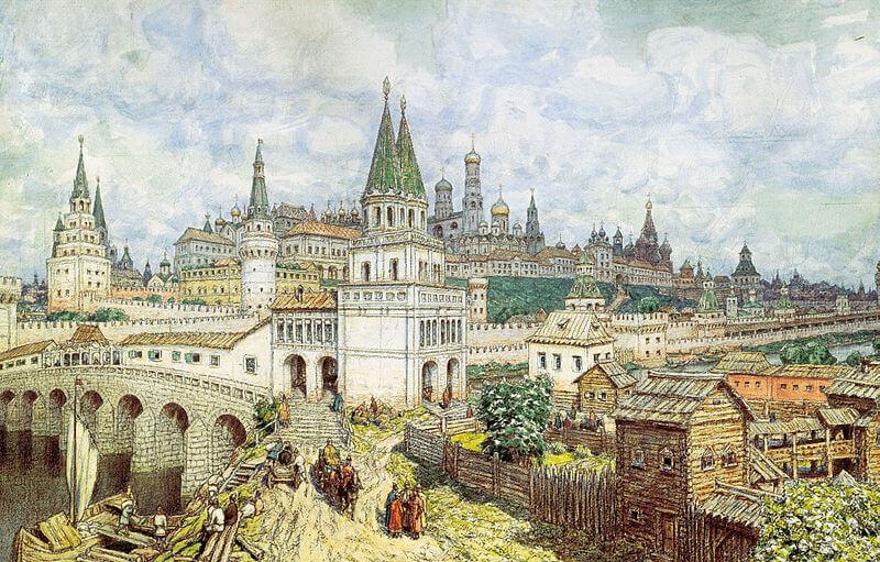 А. М. Васнецов. «Расцвет Кремля. Всехсвятский мост и Кремль в конце XVII века». 1922.