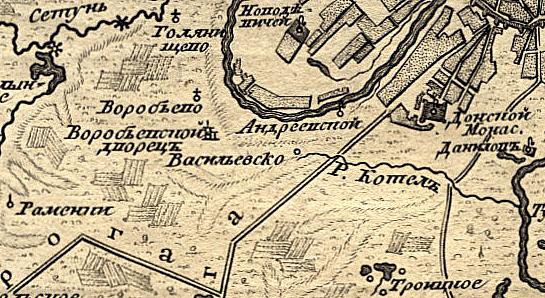 Воробьёвы горы, село Воробьёво, Воробьёвский дворец и Андреевский монастырь на карте Москвы 1766 года