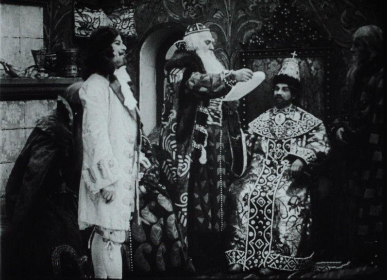Шведский посол, Борис Морозов и Алексей Михайлович. Кадр из фильма «Трёхсотлетие царствования дома Романовых».