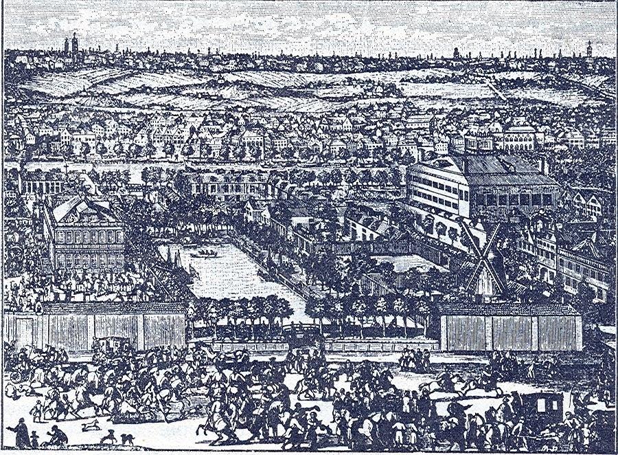 Немецкая слобода в конце XVII века. Гравюра А. Шхонебека и его учеников 1705 г.