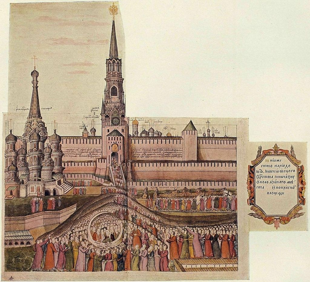 Один из моментов избрания Михаила Романова на царство. Сцена на Красной площади.