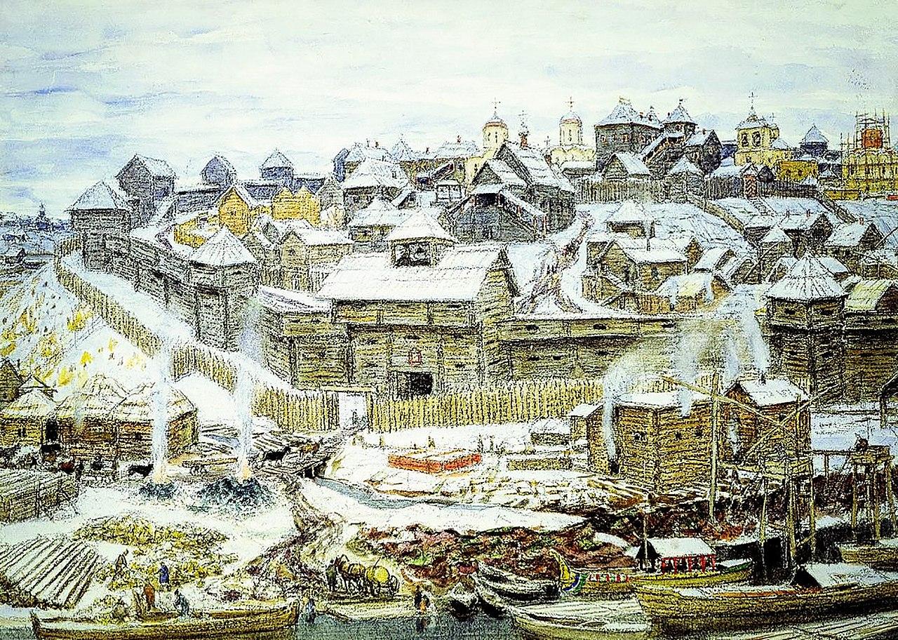 Московский кремль во время княжения Ивана Калиты в представлении художника А. М. Васнецова, 1921 год