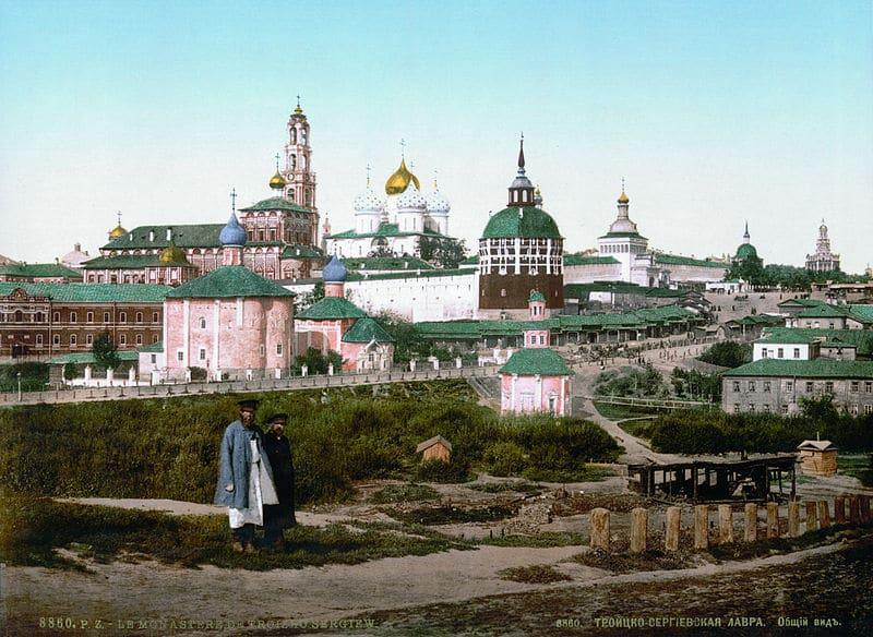 Троице-Сергиева лавра, между 1890 и 1905. Фотохром (цветная литография)