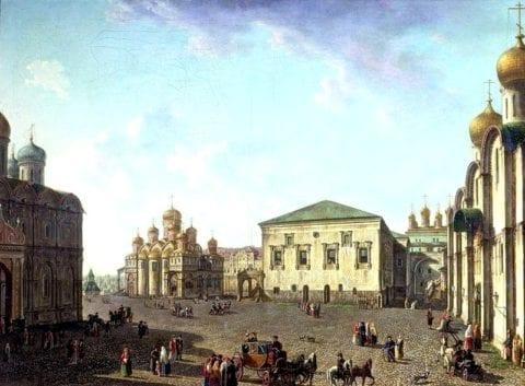 «Площадь перед Успенским собором в Московском Кремле». Не ранее 1800. Государственный Русский музей, Санкт-Петербург.