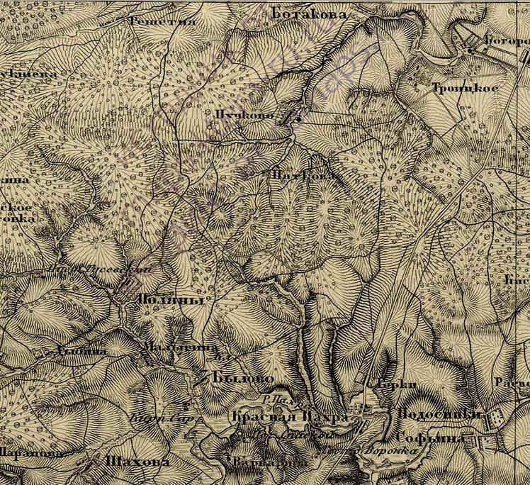 Карта окрестностей вокруг Троицка в 1860 году