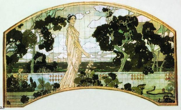 """Эскиз Декоративного панно """"Клеопатра"""" для гостиницы Метрополь, 1898 год"""