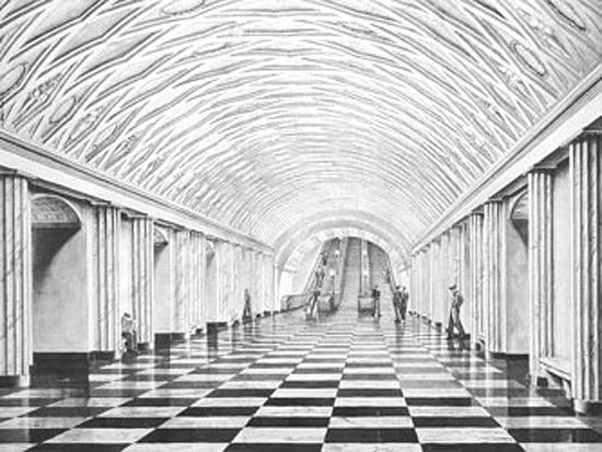 """Проект станции """"Театральная"""" Московского метрополитена, 1936 год"""